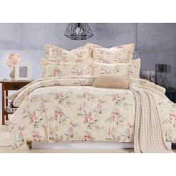 Комплект постельного белья сатин бежевый с цветами