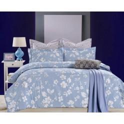 Комплект постельного белья сатин голубой с листьями