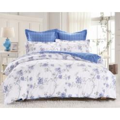 Комплект постельного белья двусторонний сатин белый с голубым