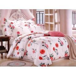 Комплект постельного белья сатин белый с красными цветами