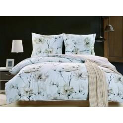 Комплект постельного белья сатин белый с белыми цветами