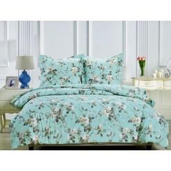 Комплект постельного белья сатин голубой с белыми цветами