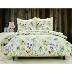 Комплект постельного белья сатин белый с яркими птичками