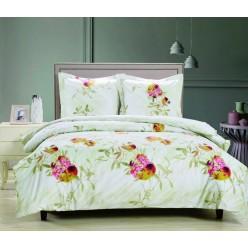 Комплект постельного белья сатин оливковый с ярким принтом