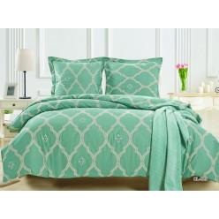 Комплект постельного белья сатин бирюзовый с орнаментом