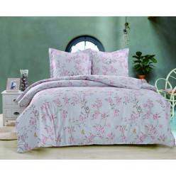 Комплект постельного белья сатин белый с розовыми цветами