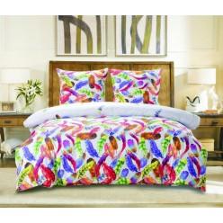 Комплект постельного белья сатин белый с яркими перьями