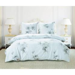 Комплект постельного белья сатин белый с нежными цветами