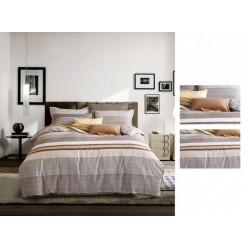 Комплект постельного белья сатин бежевый в широкую полоску