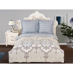 Комплект постельного белья сатин бежевый с голубым орнаментом