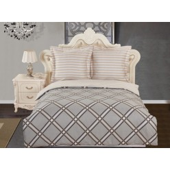 Комплект постельного белья сатин бежевый с серым орнаментом