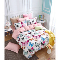 Семейный комплект постельного белья двусторонний сатин розовый с бабочками