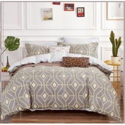 Комплект постельного белья двусторонний сатин серый с орнаментом