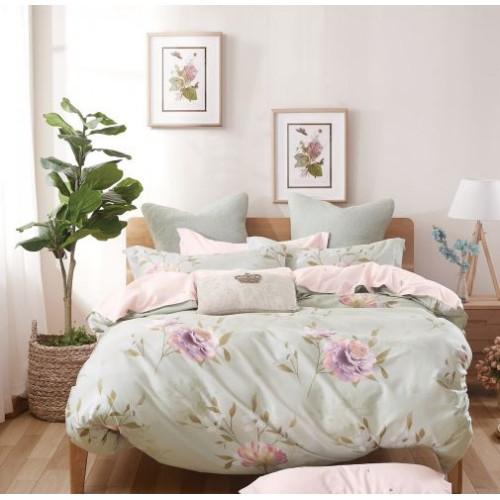Постельное белье двустороннее из сатина бежевое с крупными цветами