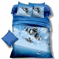 Детское постельное белье сатин синее с самолетом