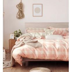 Детский комплект постельного белья сатин двусторонний розовый в клетку