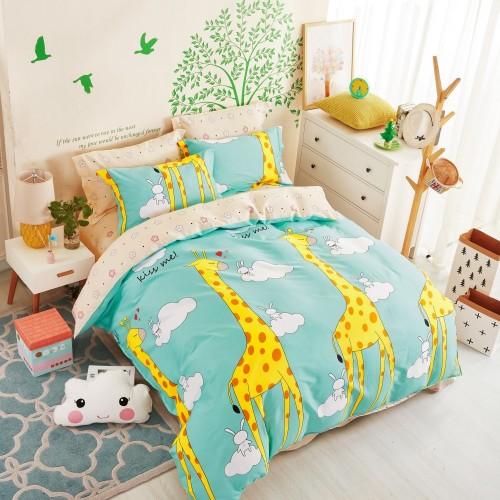 Детский комплект постельного белья сатин двусторонний голубой с жирафами