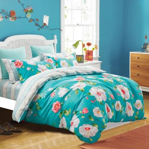 Детский комплект постельного белья сатин двусторонний бирюзовый с цветами