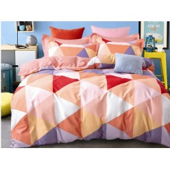 Подростковый комплект постельного белья сатин двусторонний персиковый