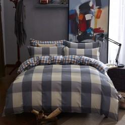 Подростковый комплект постельного белья сатин двусторонний синий в клетку