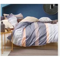Подростковый комплект постельного белья сатин двусторонний серый в полоску