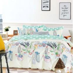 Детское постельное белье двустороннее из сатина кремовое с кактусами