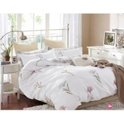 Детское постельное белье двустороннее из сатина белое с нежными цветами