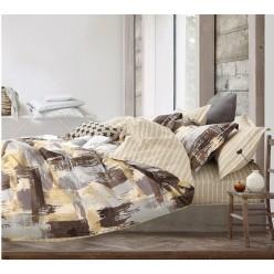 Детское постельное белье двустороннее из сатина бежевое