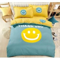 Детское постельное белье двустороннее из сатина голубое с смайлами