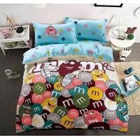 Детское постельное белье двустороннее из сатина голубое с конфетками