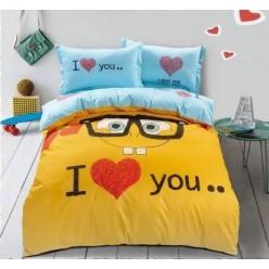 Детское постельное белье двустороннее из сатина желтое