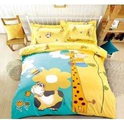 Детское постельное белье двустороннее из сатина желтое с жирафом
