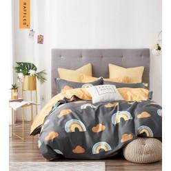 Детское сатиновое постельное белье двустороннее черное с радугой