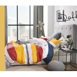 Детское сатиновое постельное белье двустороннее желтое в крупную полоску
