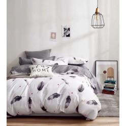 Детское сатиновое постельное белье двустороннее белое с перьями