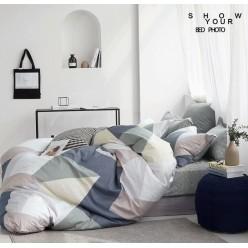 Детское сатиновое постельное белье двустороннее серое с орнаментом