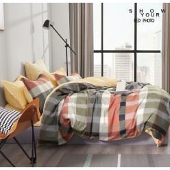 Подростковое сатиновое постельное белье двустороннее оливковое в клетку