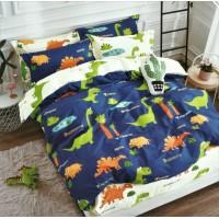 Детское сатиновое постельное белье двустороннее синее с динозаврами