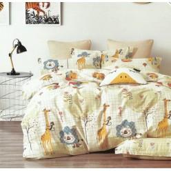 Детское сатиновое постельное белье двустороннее кремовое с жирафами