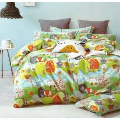 Детское сатиновое постельное белье двустороннее зеленое с животными