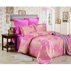 Постельное белье сатин жаккард ярко розовое