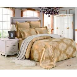 Постельное белье сатин жаккард золотое с бежевым орнаментом