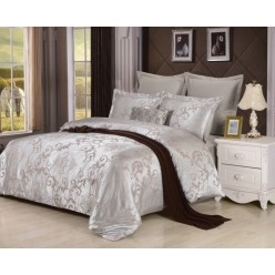 Комплект постельного белья сатин жаккард серебряный с орнаментом
