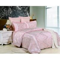 Постельное белье сатин жаккард нежно розовое