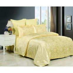 Постельное белье сатин жаккард золотое с орнаментом