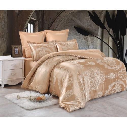 Семейное постельное белье однотонное из жаккарда бежево золотистое с орнаментом