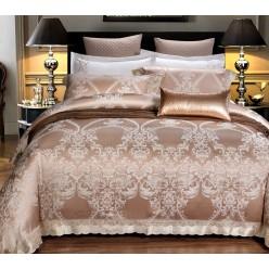 Шелковое постельное белье из жаккарда бежевое с орнаментом