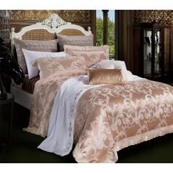 Шелковое постельное белье из сатин жаккарда бежевого цвета с орнаментом