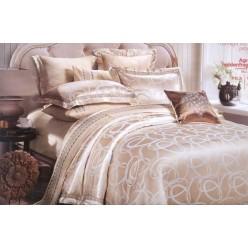 Шелковое постельное белье из жаккарда кремовое с орнаментом