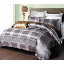 Шелковое постельное белье из жаккарда металлик в клетку